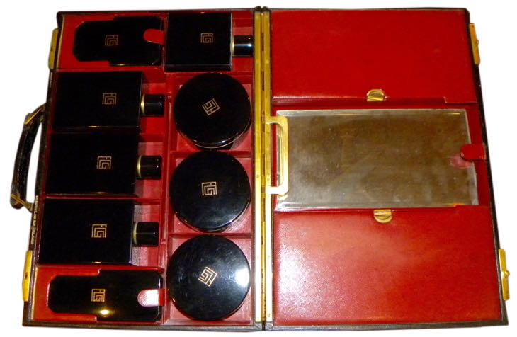 S.T. Dupont Paris Art Deco French Leather Travel Cosmetic Case