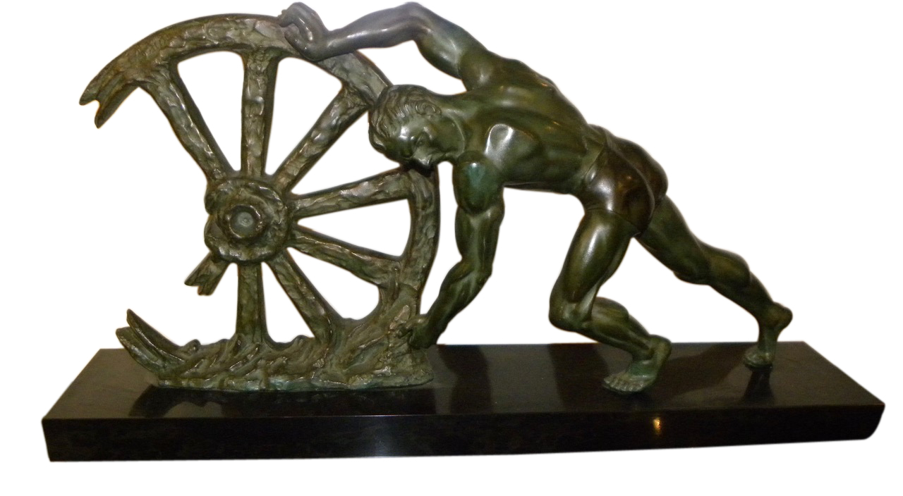art deco sculpture man with broken wheel by le faguays sold items statues art deco collection. Black Bedroom Furniture Sets. Home Design Ideas