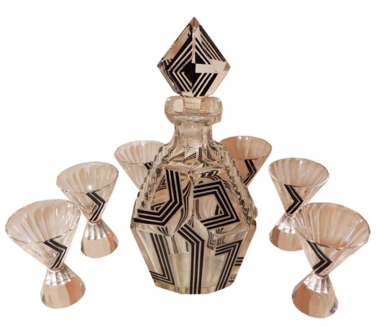 Art Deco Czech Decanter with Six Glasses by Karl Palda