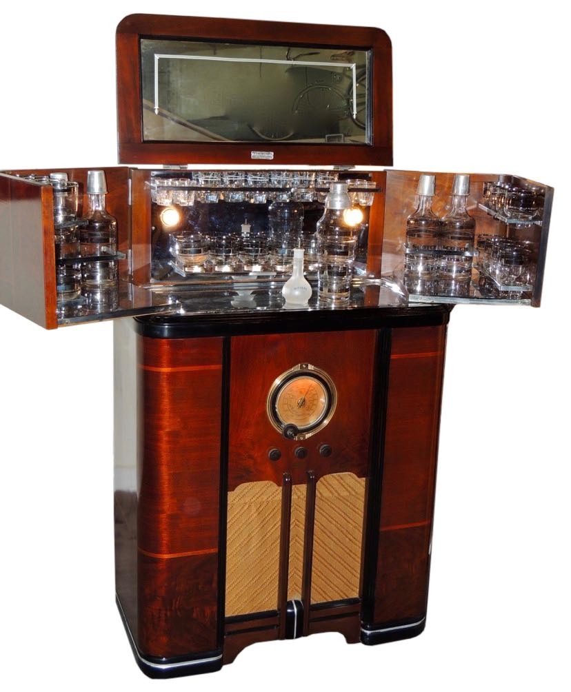 original philco radio bar restored and complete sold items radios art deco collection. Black Bedroom Furniture Sets. Home Design Ideas