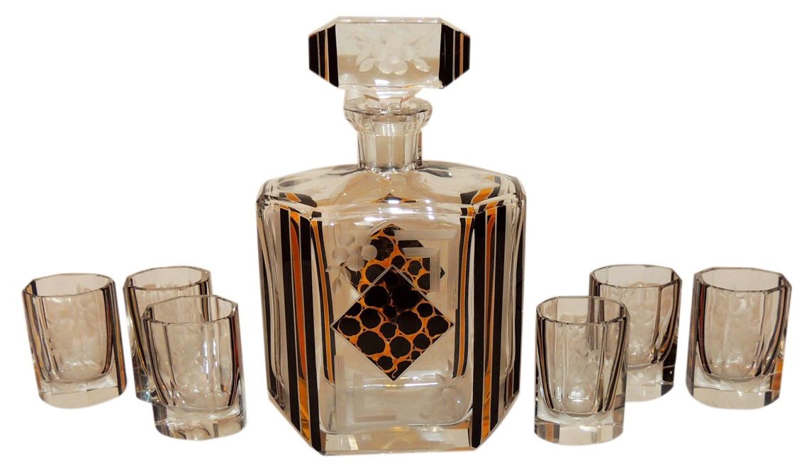 Art Deco Decanter Etched and Leopard Patterned