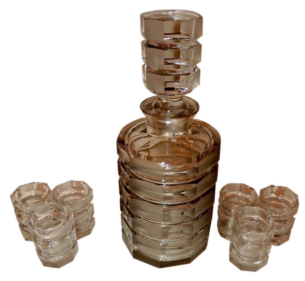Art Deco Bohemian Stacked Glass Decanter