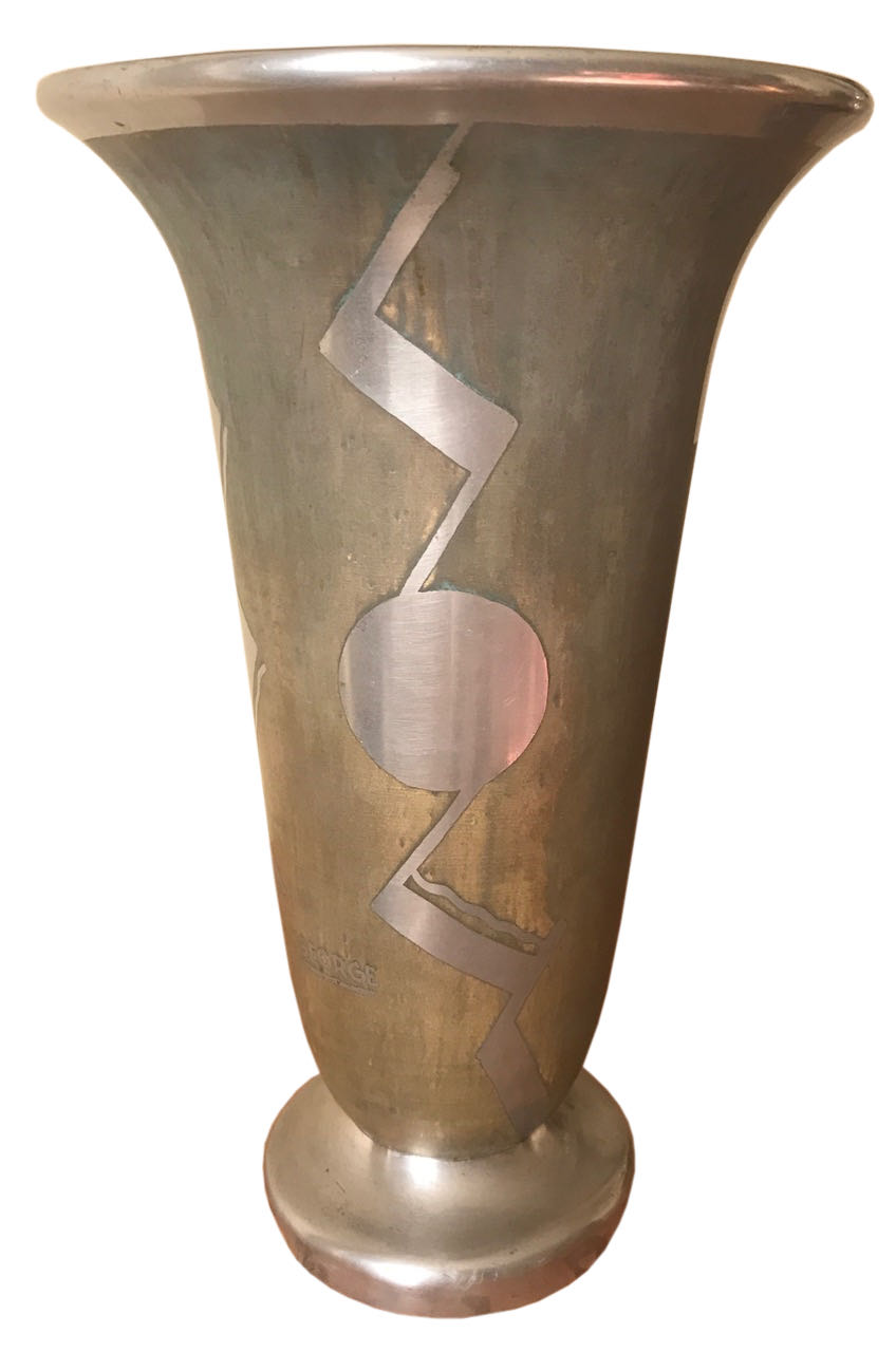 French Art Deco Dinanderie Modernist Vase by George