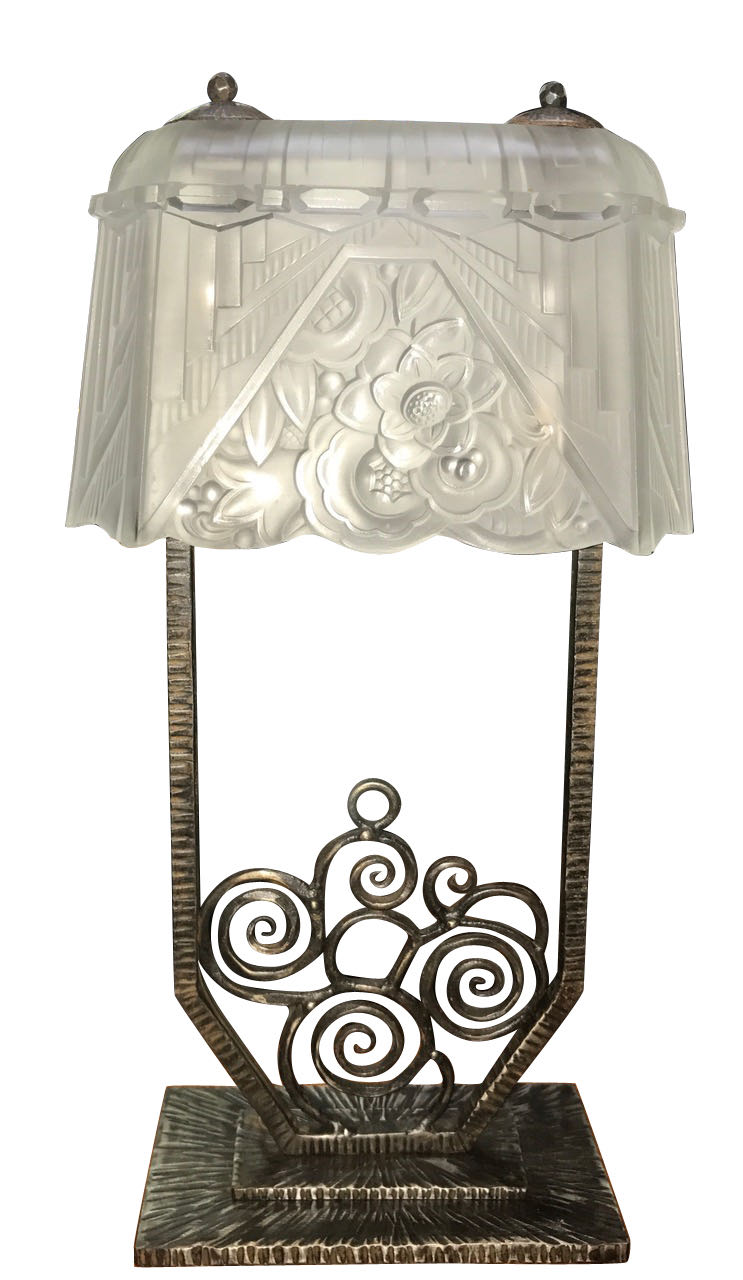 Art deco lighting sold table lamps art deco collection rare french iron moulded glass lamps pair geotapseo Images