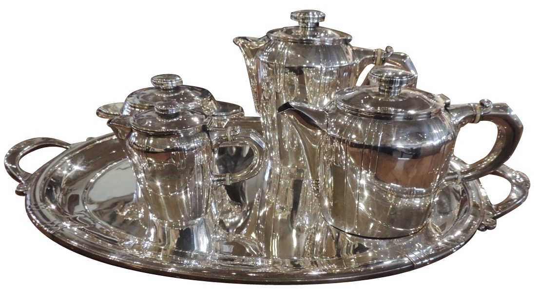French Art Deco Silver Tea and Coffee Set
