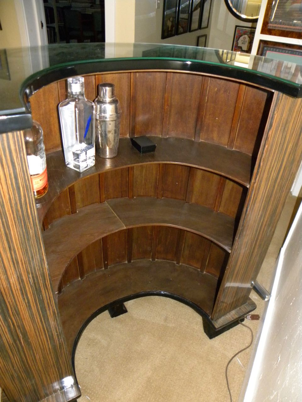 Macassar Art Deco Half Round Stand Behind Bar Bars Art
