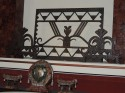 art deco iron fire screen with andirons