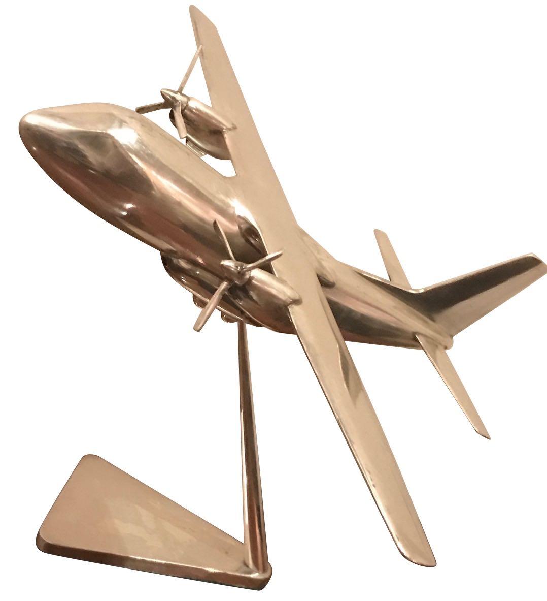 Art Deco Nickel Vintage Twin Prop Cargo Airplane Model
