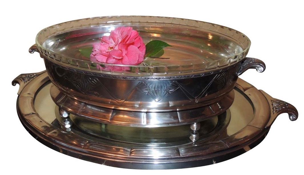 Art Deco Silver Centerpiece and Mirrored Tray