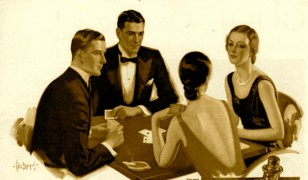 Deco People Playing Cards