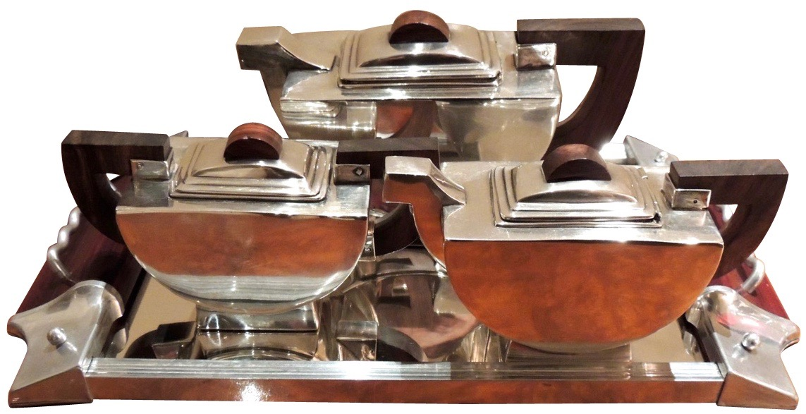 Demi-Lune Modernist Deco Silver Tea Set