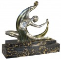 J. Lormier French Art Deco Bronze Dancer with Veil 1930s