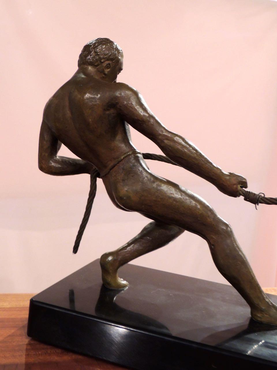 Art Deco Bronze Statue Of Man Pulling Boat Statues Art