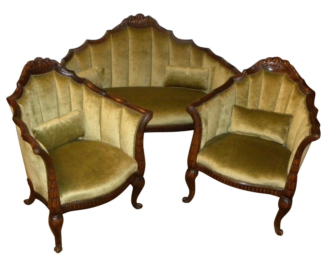 French Art Deco Settee Chairs And Table In The Style Of Paul Follot