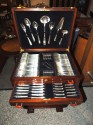 Complete Christofle Silverware Set in Wooden Storage Table