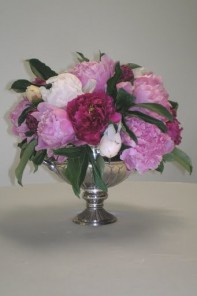 silver compote with flowers