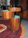 Art Deco Fluted Round Stack Bar Cart