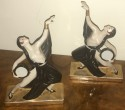 ROBJ Paris Art Deco Tambourine Dancers Bookends c 1925