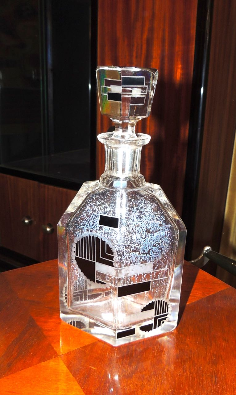 Art Deco Czech Glass Decanter In Palda Style Decanter