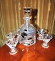 Art Deco Czech Glass Decanter in Palda Style