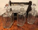 English Art Deco Modernist Macassar 3 Bottle Tantalus by Betjemanns of London