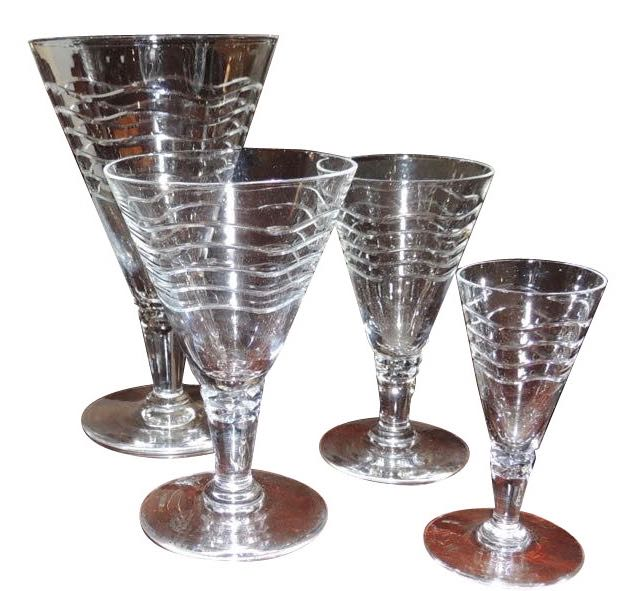 Art Deco Cocktail Glassware 30 Pieces in Wave Pattern