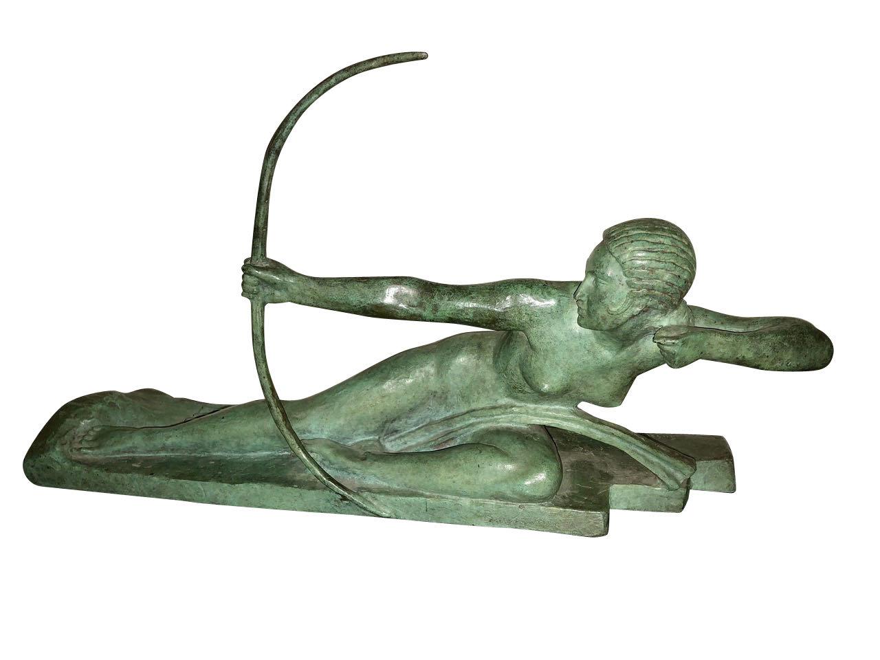 Art Deco Bronze Sculpture by Bouraine of Amazon Queen Penthesilea