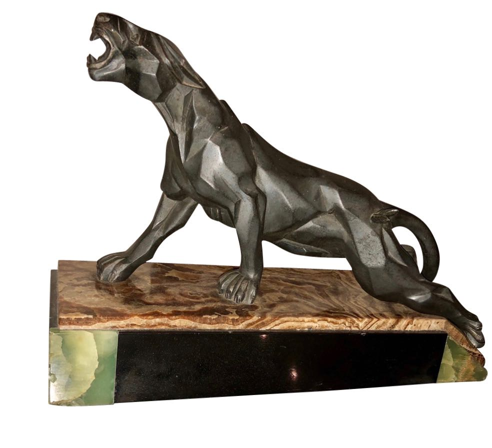 Art Deco French Cubist Panther Sculpture by Notari