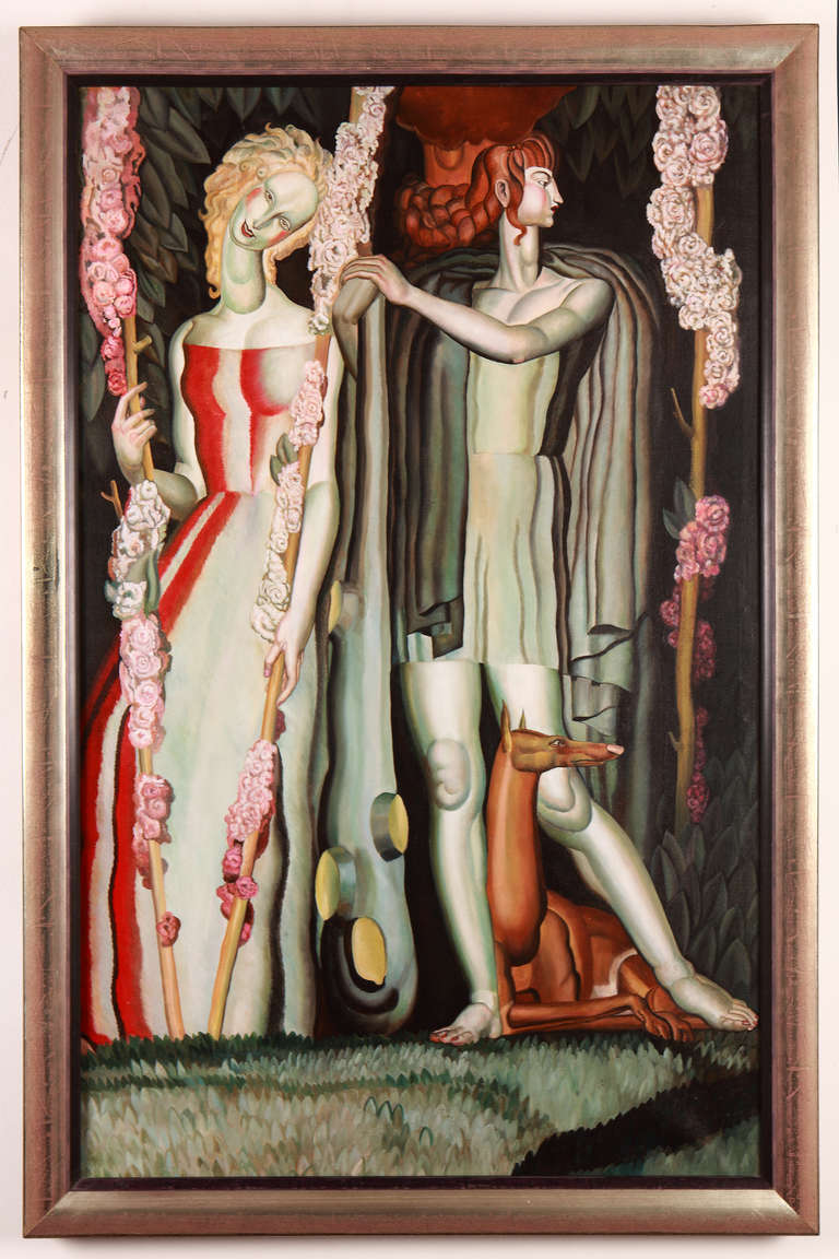 Art deco original painting mural in the style of jean - What is art deco ...