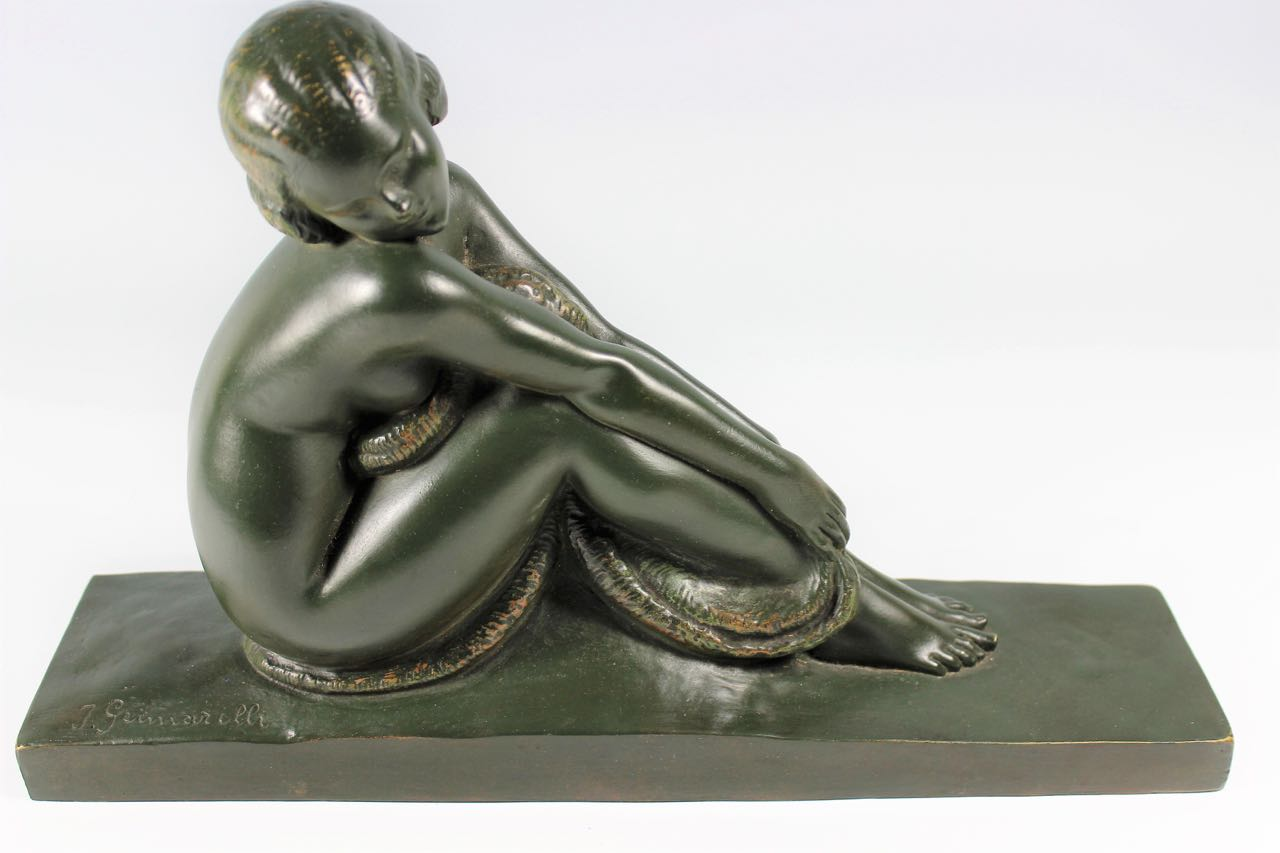 Art Deco French Bronze Seated Nude by Amedeo Gennarelli c1925