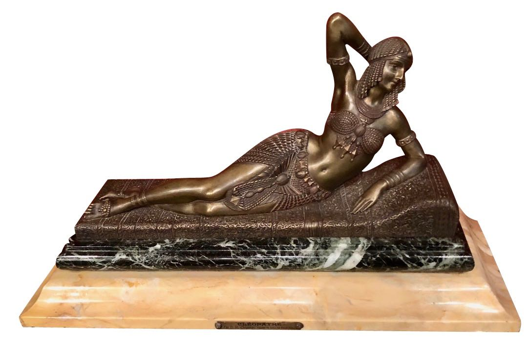 Demetre Chiparus Cleopatra, Circa 192 Art Deco. Bronze with marble base