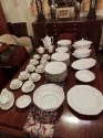 Art Deco China Service for 12 Silver and White