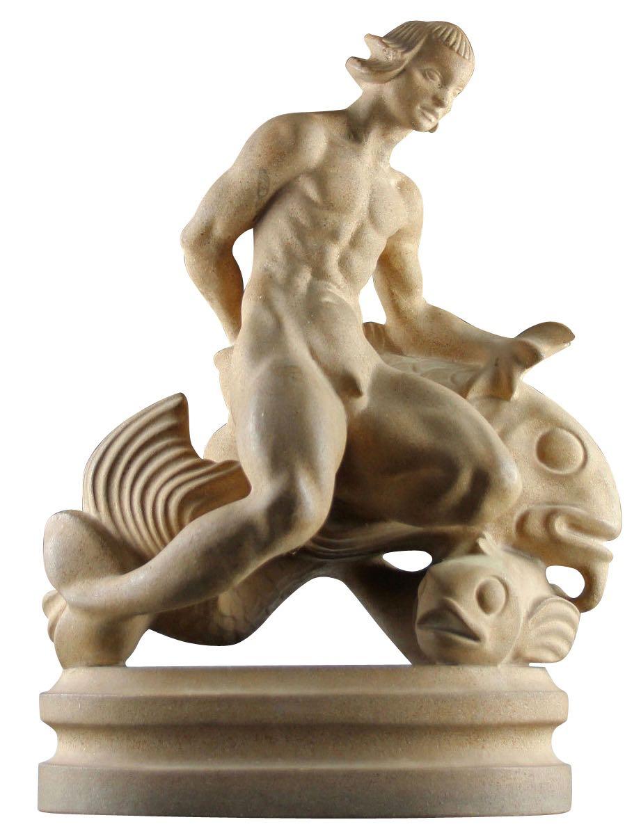 Art Deco Danish Sandstone Sculpture of a Merman by Just Andersen