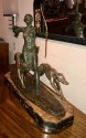 Louis Riche Art Deco Cold Painted Bronze Statue Diana and Dogs, circa 1930