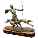 Louis Riche Art Deco Cold Painted Bronze Statue Diana and Hunting Dogs, 1925-1930