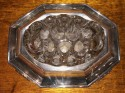 Silver Plate Modernist Mirror Tray and Floral Display