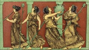 greek dancers with thrysrus