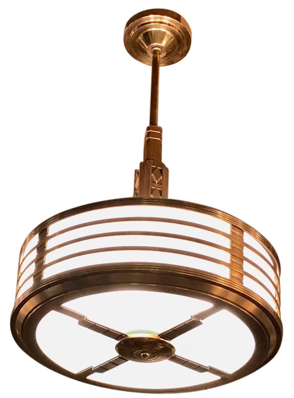 Modernest Art Deco Stepped Copper Bronze Theater Chandelier