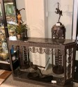 Art Deco Grand Iron and Marble Console, style of Edgar Brandt