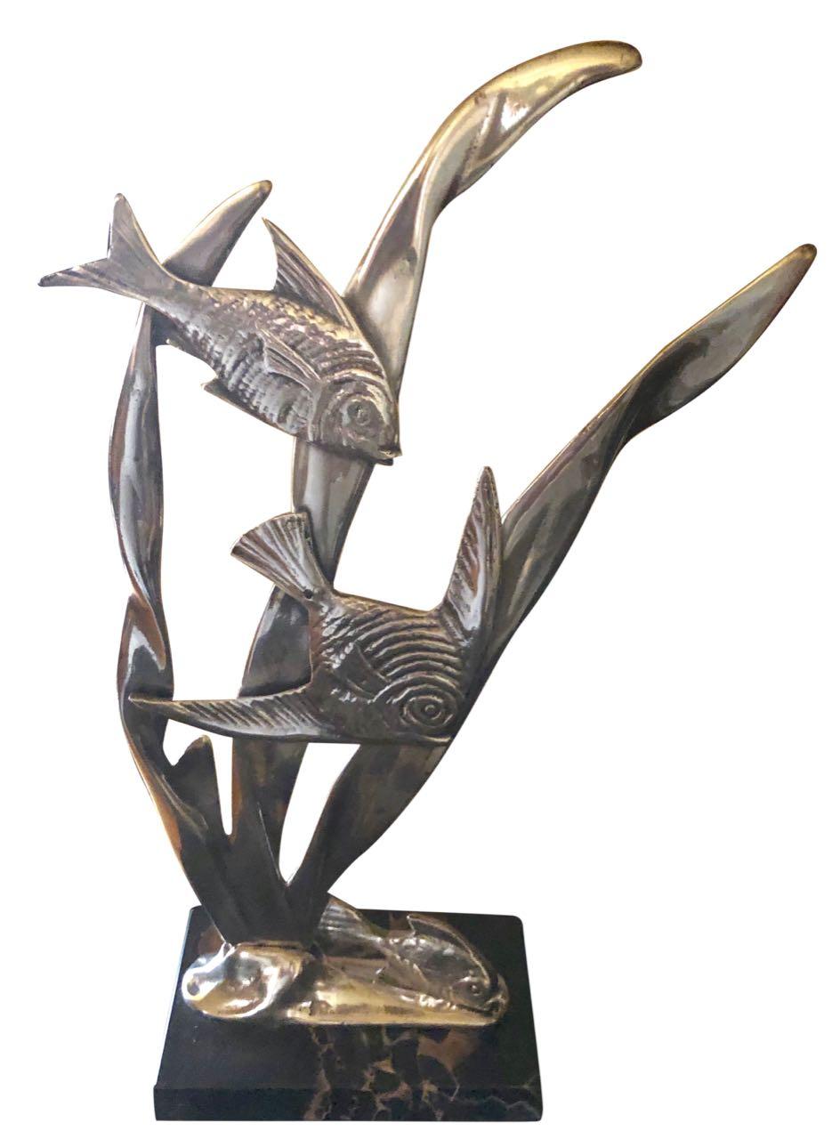 Art Deco Bronze Fish Statue Marble Base