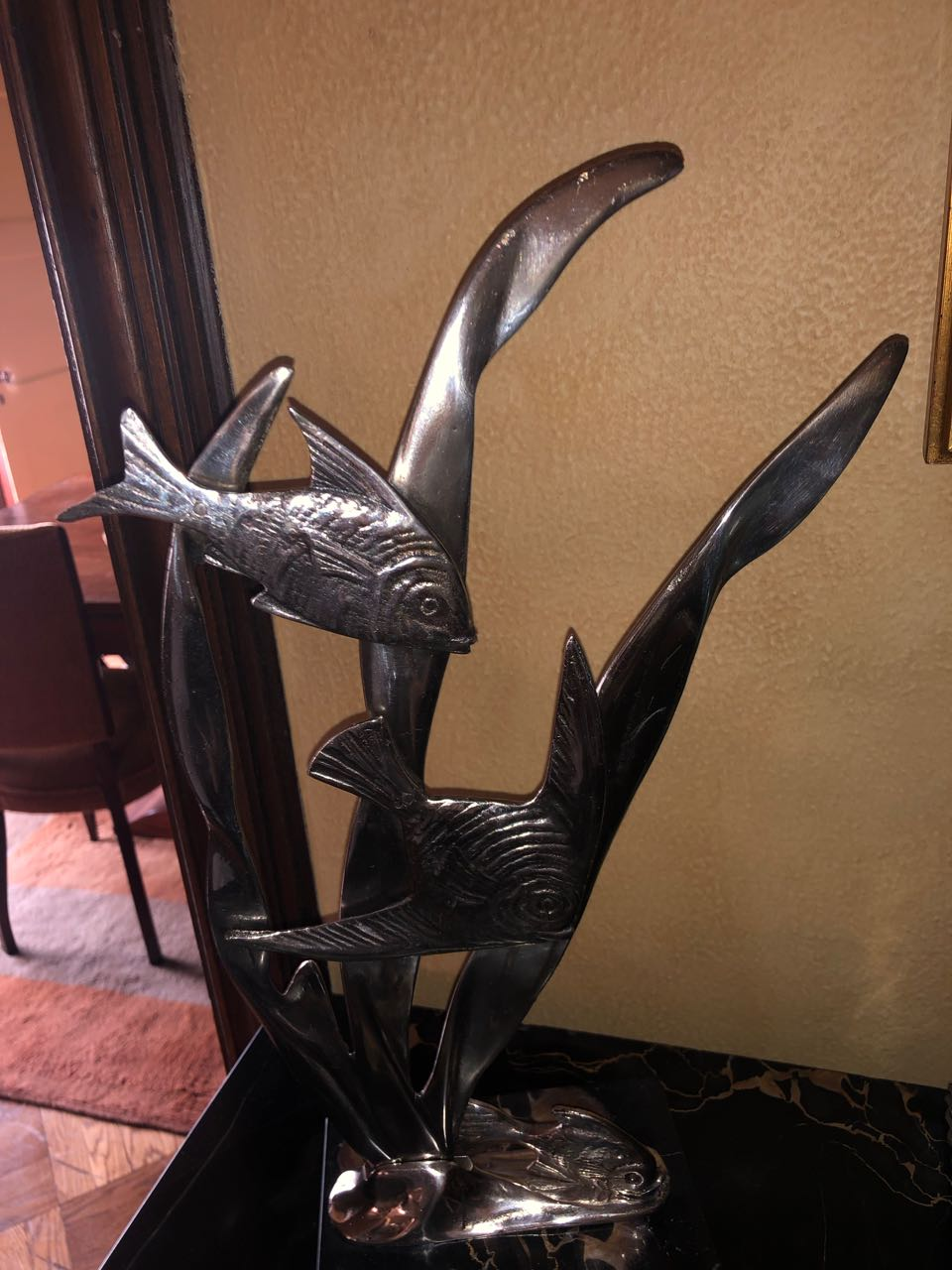 Art Deco Bronze Angel Fish Statue Marble Base Statues