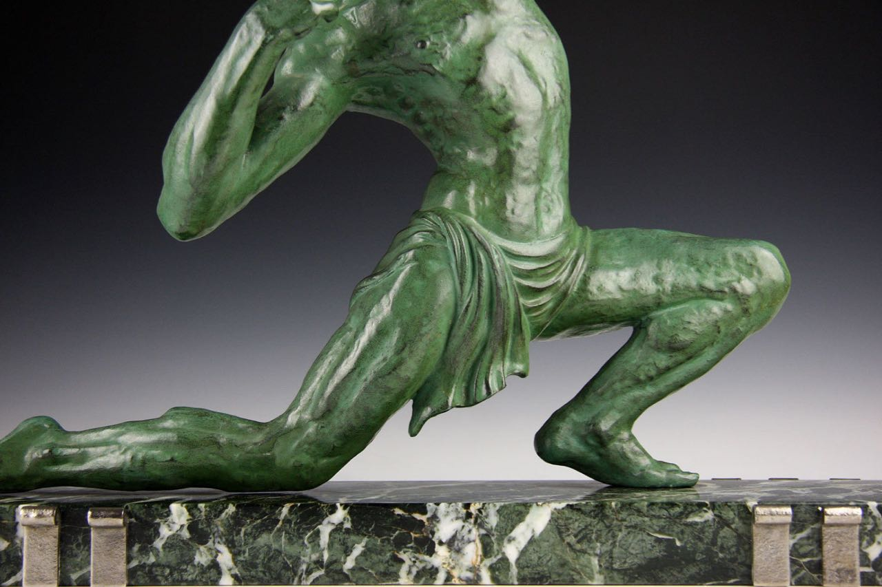G Darny French Art Deco Archer Sculpture Statues Art