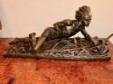 Edouard Drouot Original Bronze American Indian Hunting