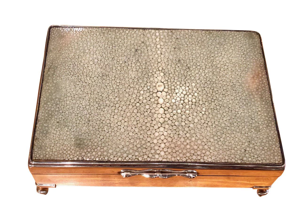 English Shagreen Art Deco Cigarette Card Box