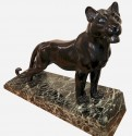 L. Carvin Black Panther Art Deco Bronze Sculpture