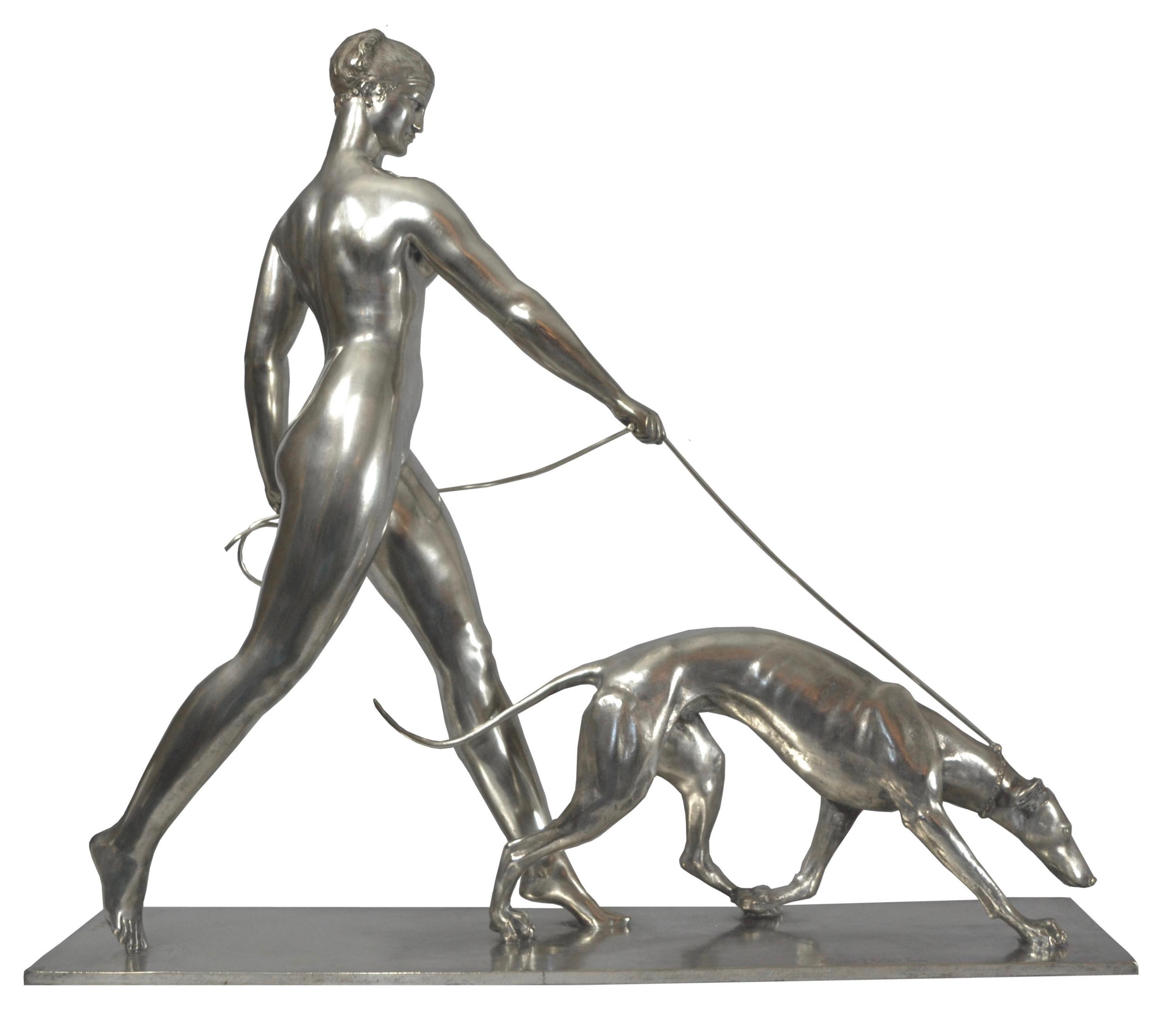 Art Deco Sculpture by Raymond Leon Rivoire Titled 'FEMME AU LEVRIER'