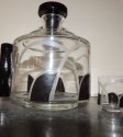 Art Deco Czech Decanter Set with Black Glass Accents