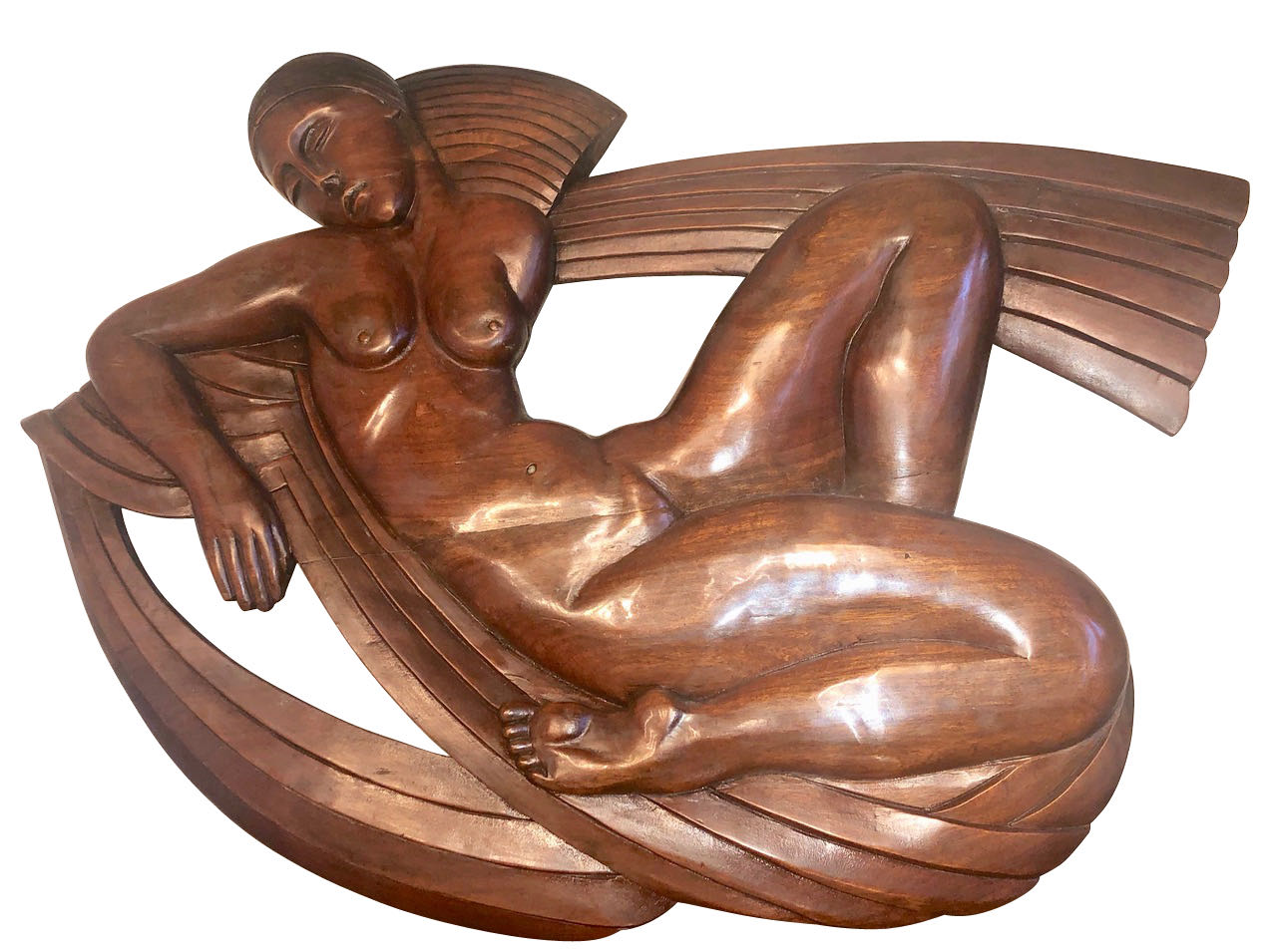 Art Deco Carved Wood Reclining Nude Figure Sculpture