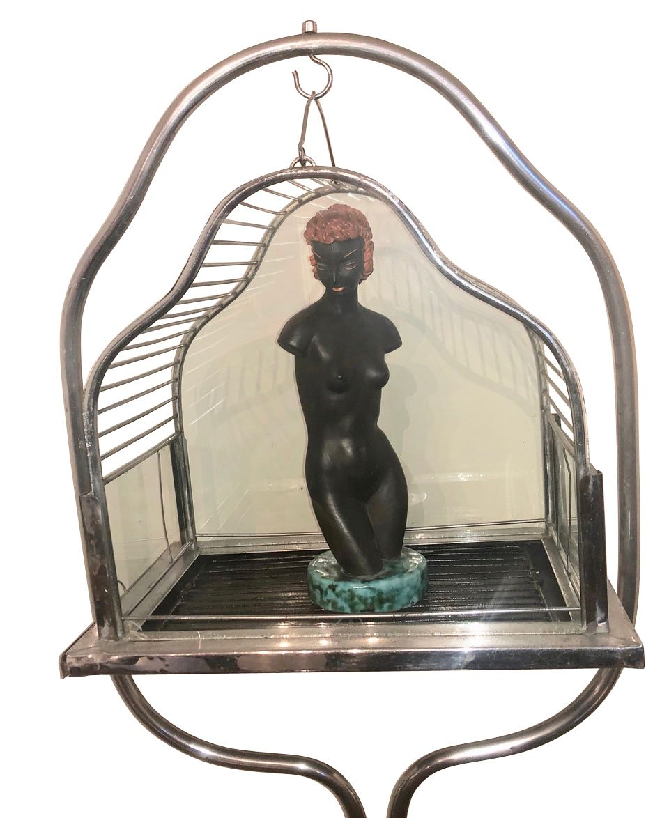 Chrome Art Deco Bird Cage on Stand