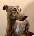 Art Deco Greyhound Dogs Bronze Sculpture by S. Bizard